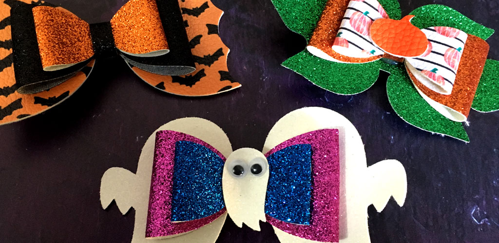 Make Easy Halloween Hair Bows from Faux Leather