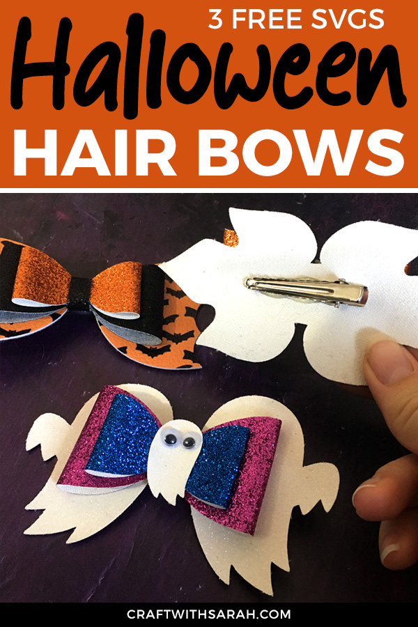 Make adorable faux leather hair bows for Halloween with 3 free spooky hair bow cuttin files and a step-by-step tutorial. Halloween hair bows to make with a Cricut machine,