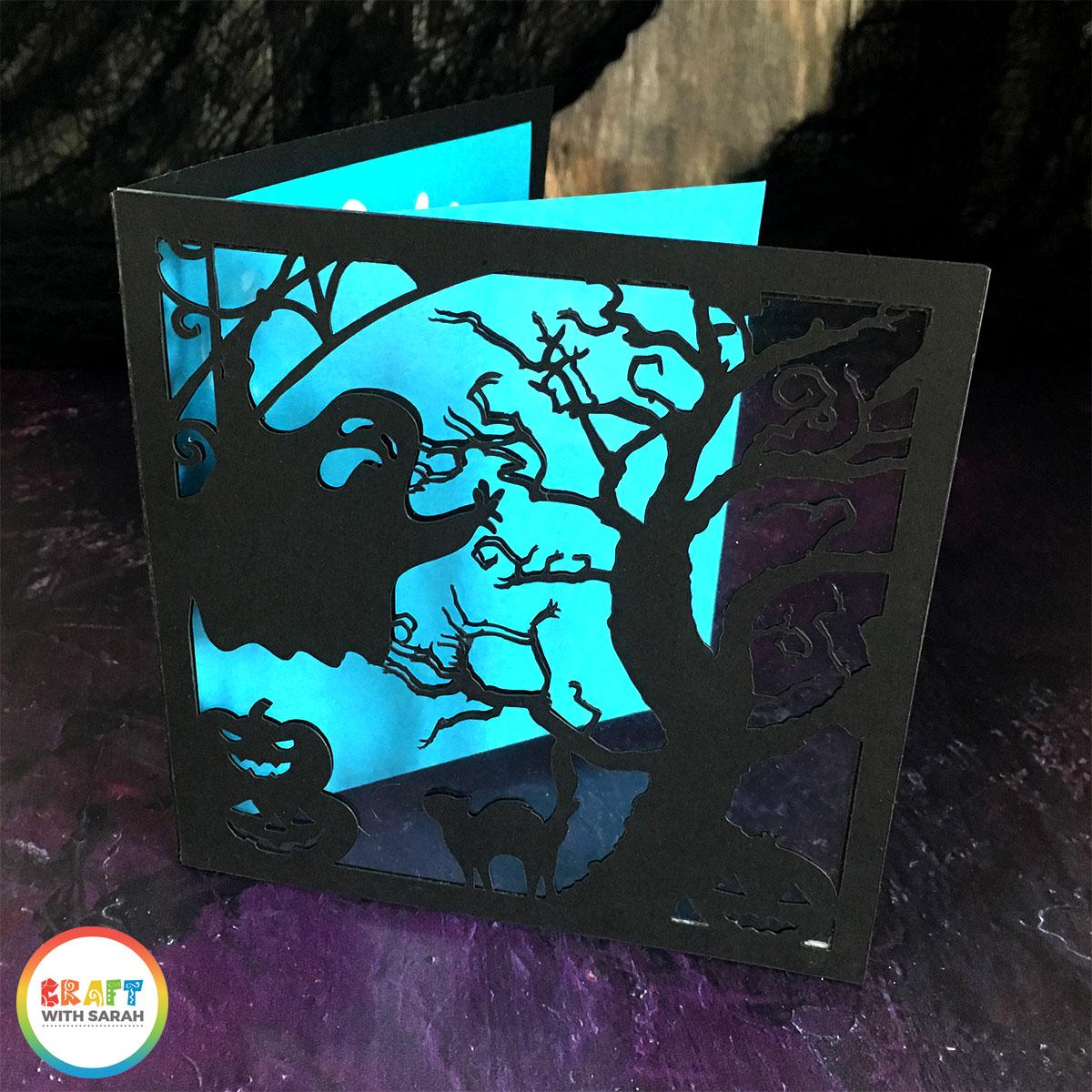 Halloween acetate window card made with Cricut