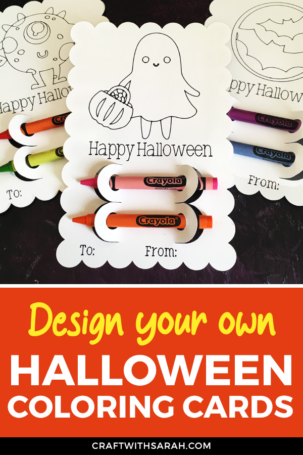 These Halloween coloring cards can be made quickly and easily in Cricut Design Space and you can use ANY image from Cricut Access to use as the coloring picture.