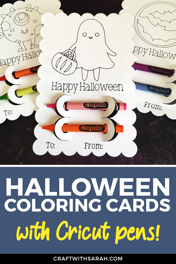 Looking for a non-candy Halloween treat for kids? Halloween coloring cards with crayons are a great option!