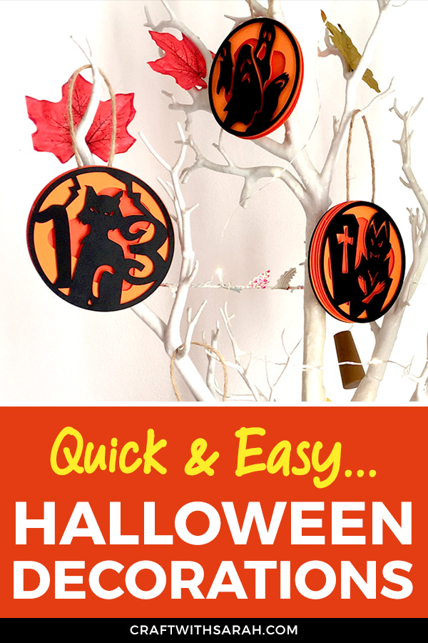 Make these fun layered Halloween decorations using your Cricut machine. Easy Halloween decorations to make with Cricut. #cricut