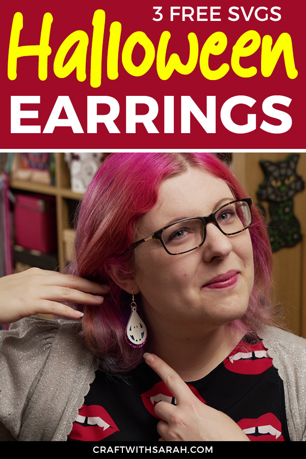 How to make faux leather earrings with a Cricut machine. Three different Halloween earring cutting files which you can download for free.