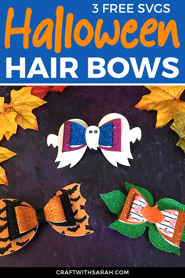 How to make hair bows with Cricut. Free hair bow SVGs. Halloween hair bows for Cricut machines. Free hair bows for Halloween. Choose from ghost, bat and pumpkin hair bow designs.