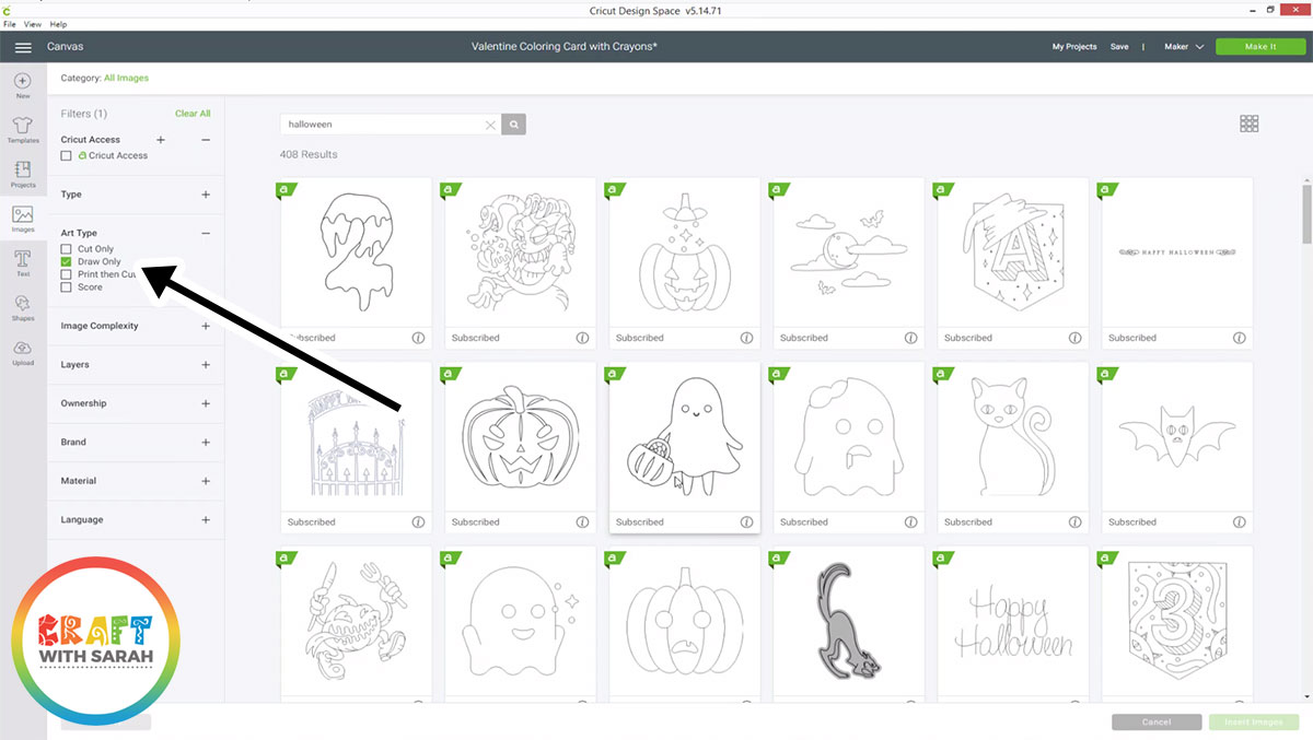 Draw-only Halloween images in Design Space
