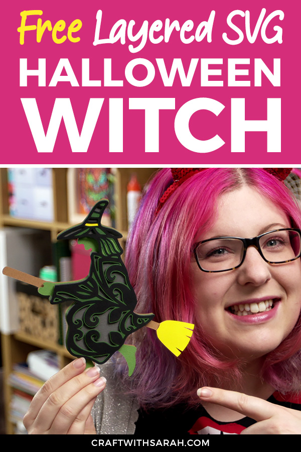 Free layered witch cutting file for Halloween. Get your free layered SVG for Halloween of a flying witch on a broomstick.
