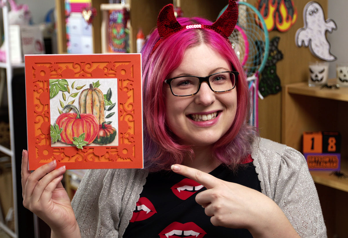 Sarah with Halloween pumpkins card