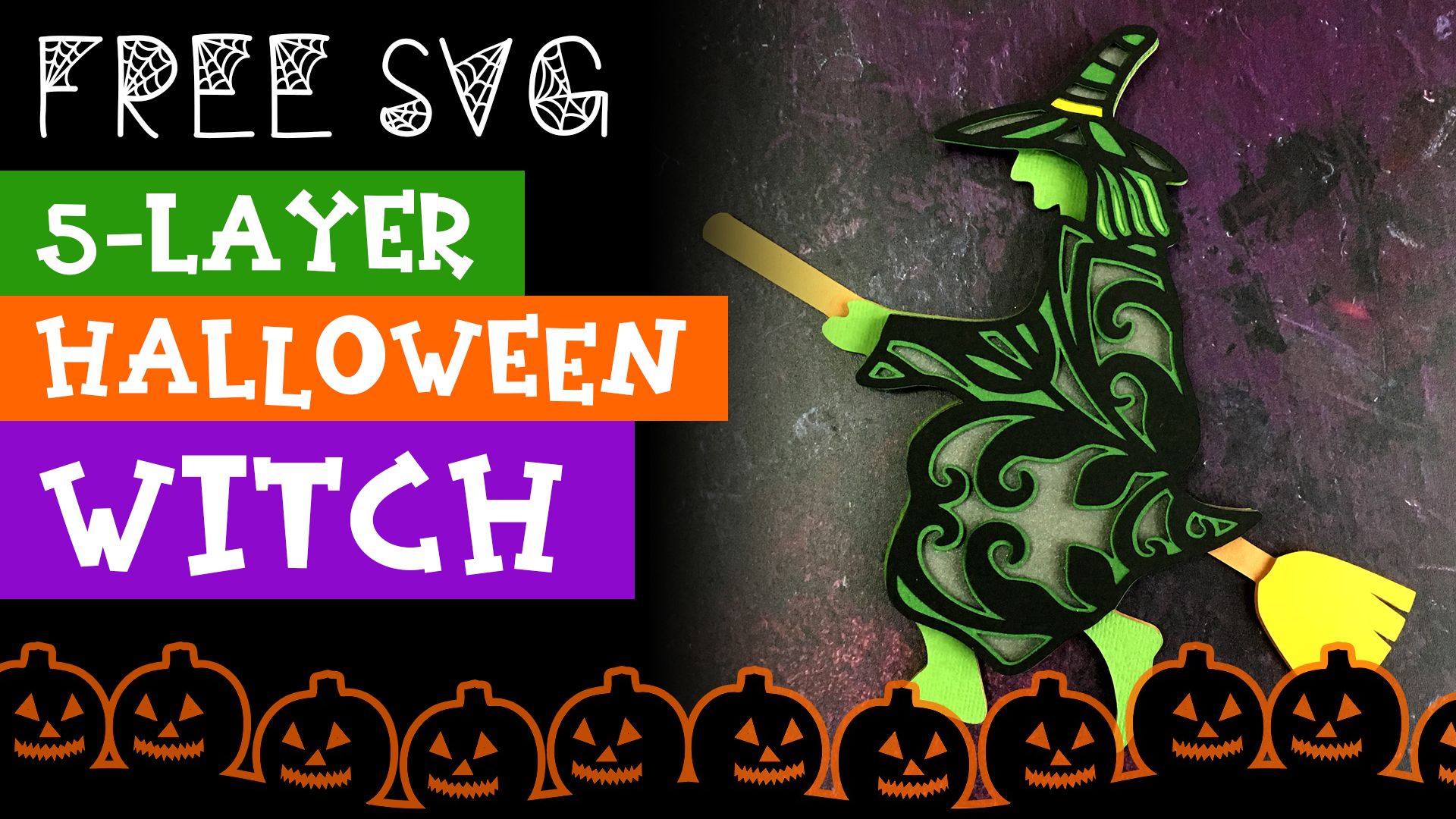 Free Layered Witch SVG for Halloween