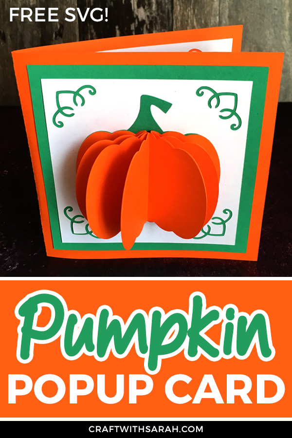 Free pumpkin SVG cutting file. Download the free pumpkin card making cutting file to make a DIY popup pumpkin card. Great Halloween or Fall craft for kids and adults.