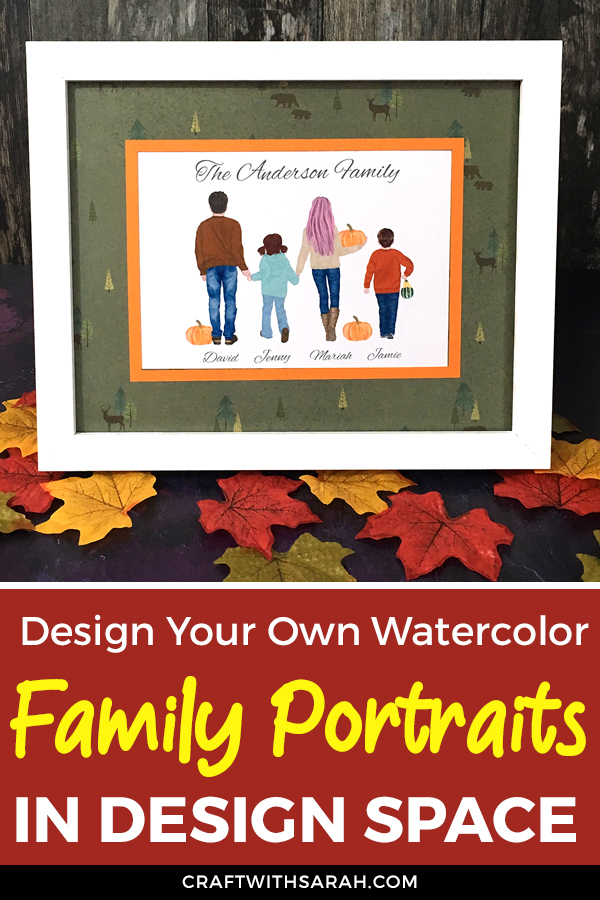 Turn watercolor clipart into personalized family wall art with this Cricut Design Space tutorial. DIY family portraits to make in Design Space.