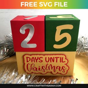 Christmas Countdown Cubes Free SVG