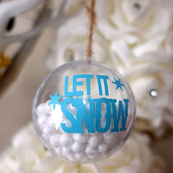 Snow ornament made with Cricut