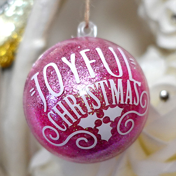 Pink glitter bauble with Cricut vinyl