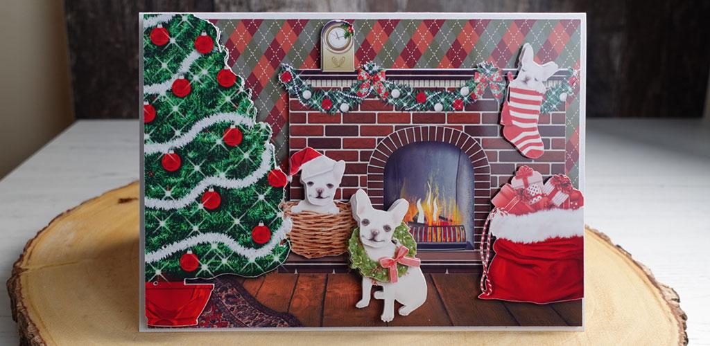 French Bulldogs Christmas Decoupage