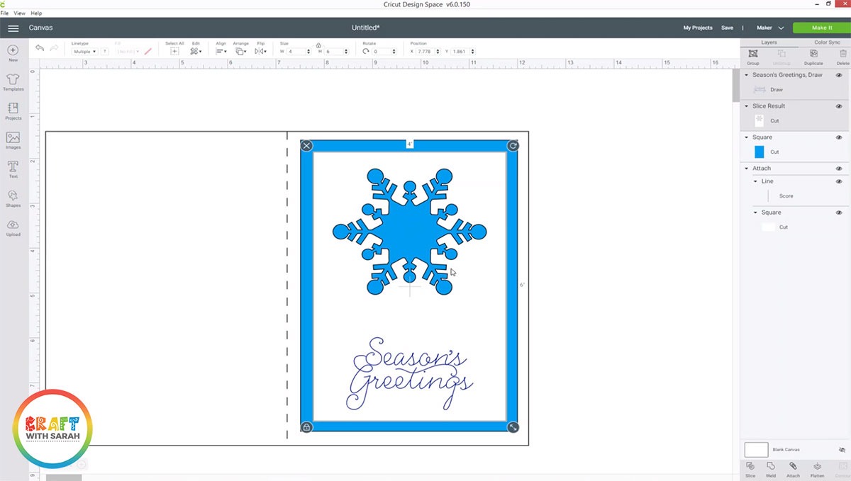 Cricut draw Christmas sentiment