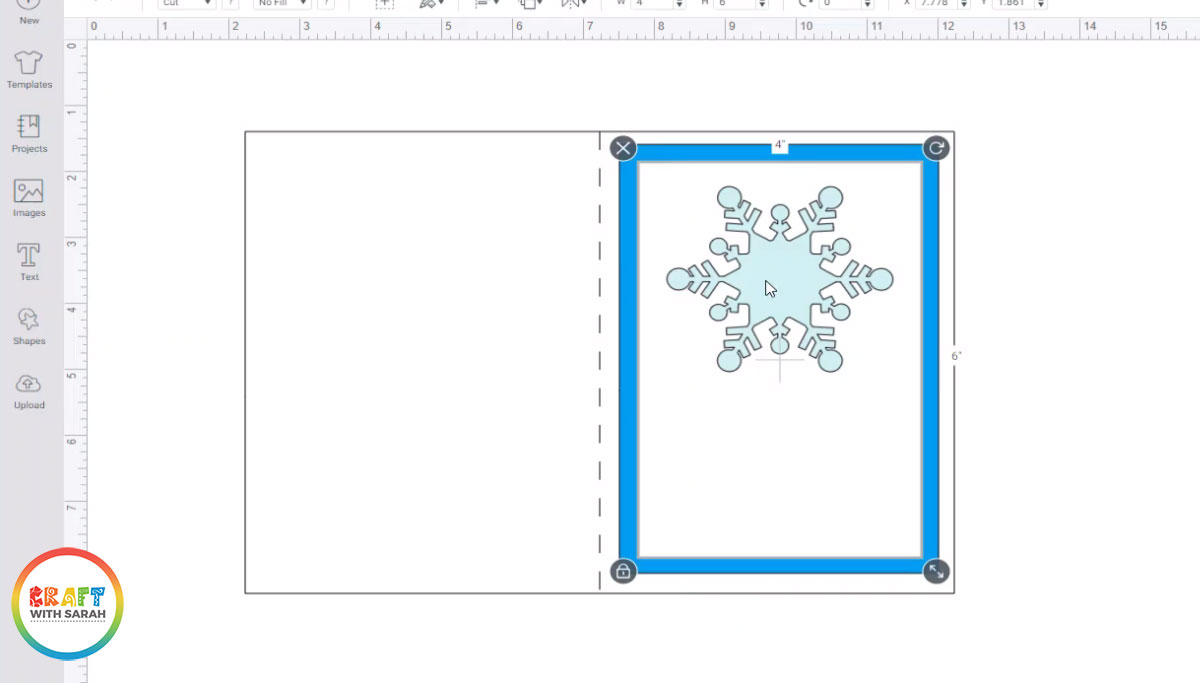 Snowflake image on card