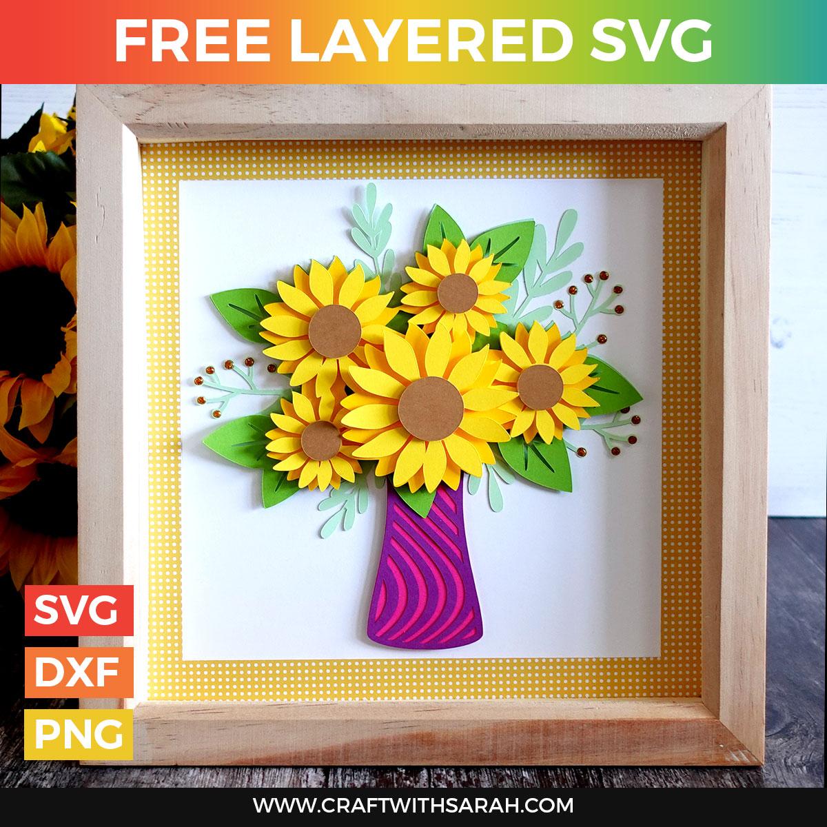 Sunflower Vase Free Layered SVG