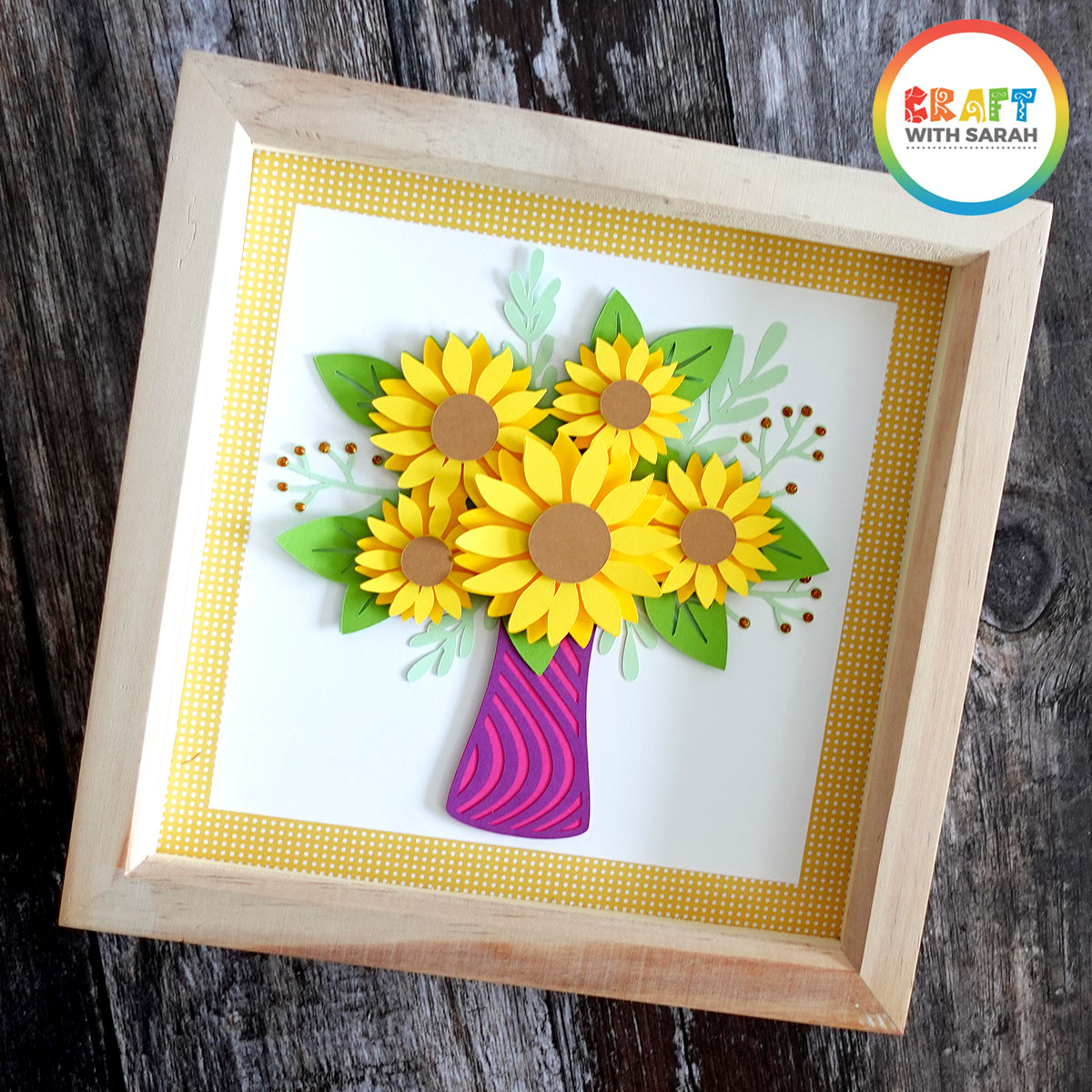 Free layered sunflower shadow box file for Cricut