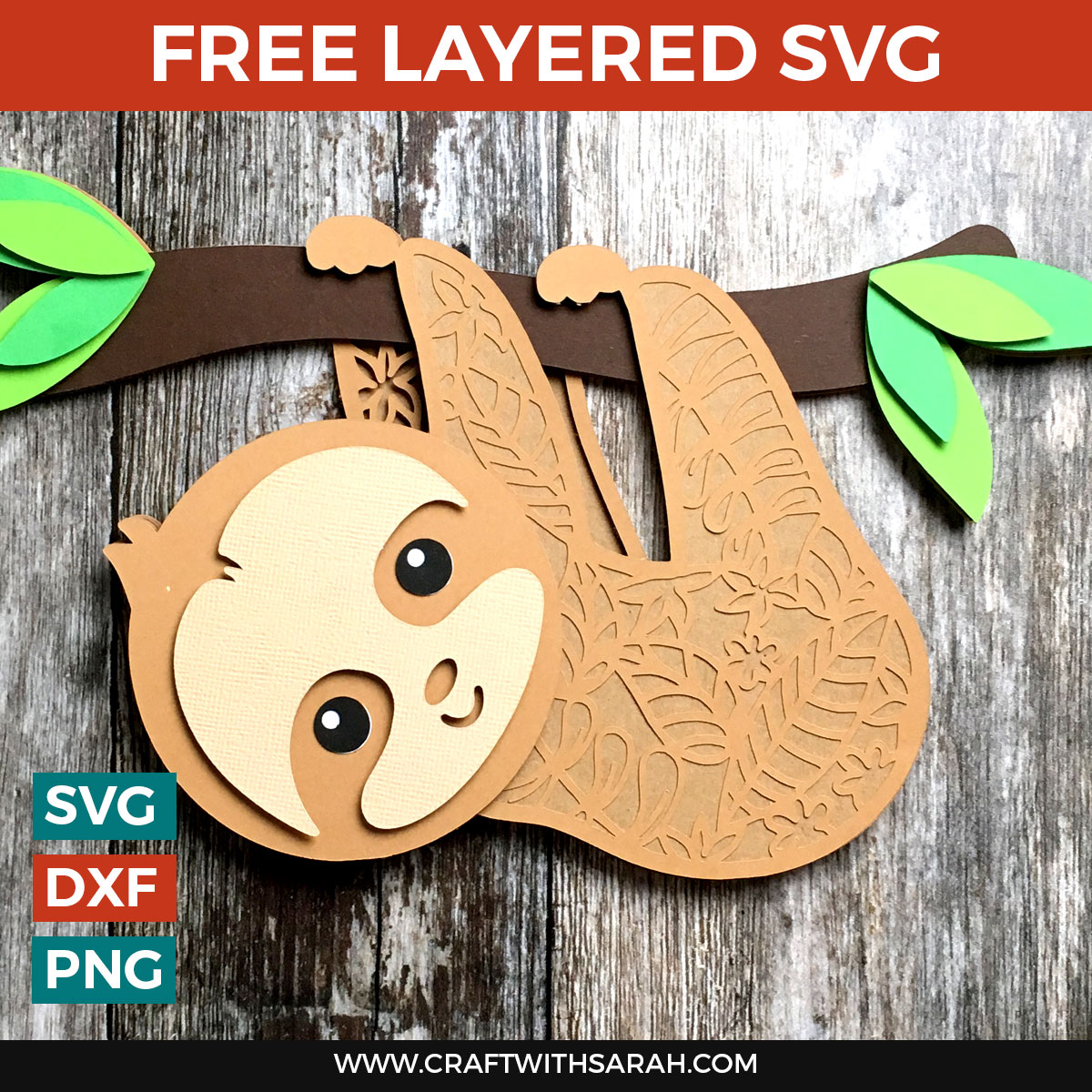 Free Sloth Layered SVG