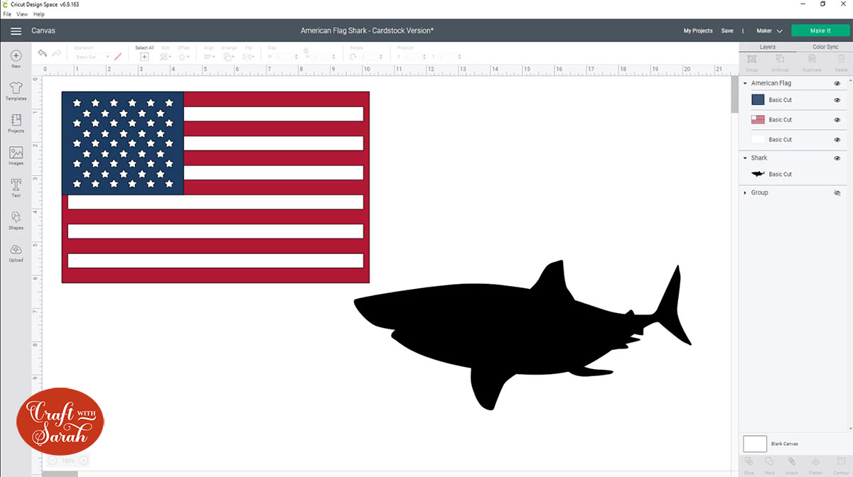 Cricut Access images of shark and American flag