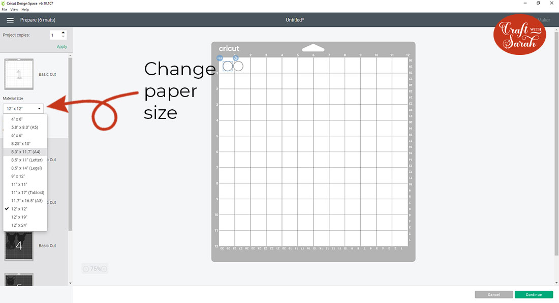 Change the paper size