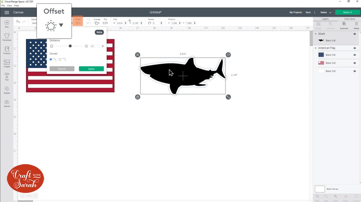 Add an offset to the shark