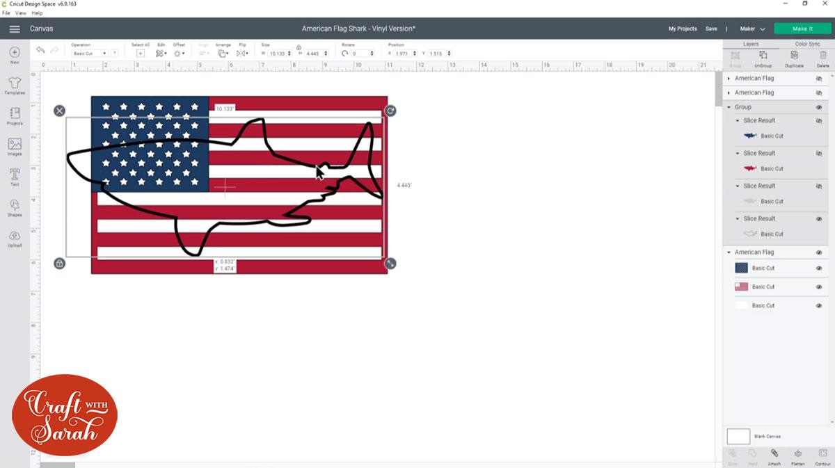 Position the shark over the flag