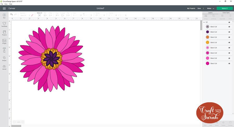 Resize the gerbera flower SVG in Cricut Design Space