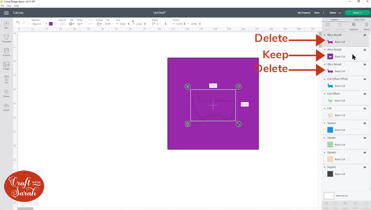 Delete the slice result layers that aren't needed