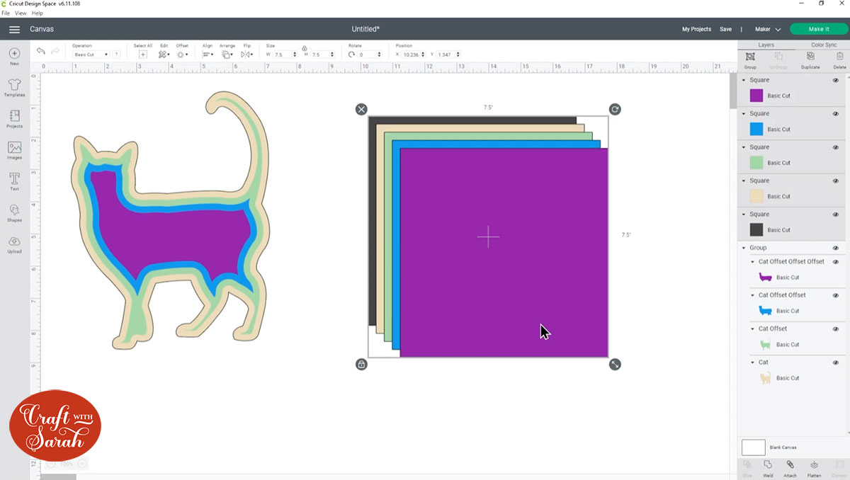 Duplicate the square layers