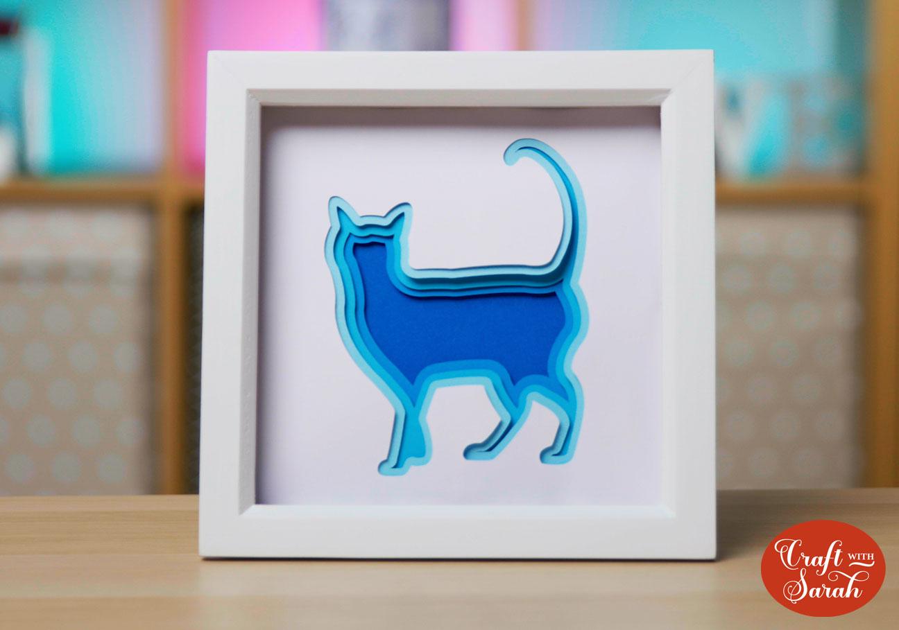 Cricut shadow box of a cat
