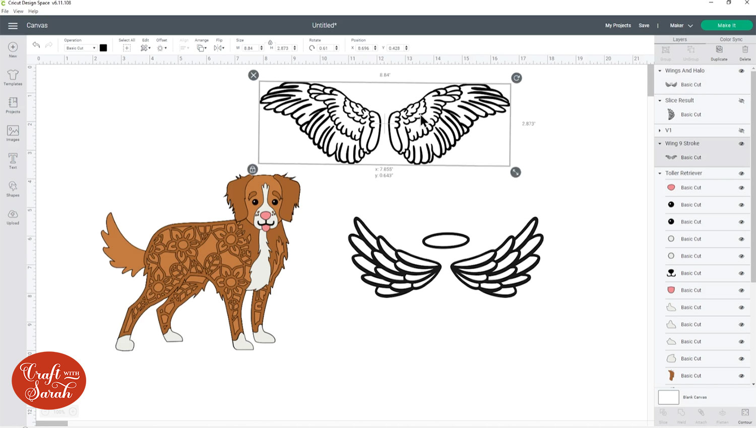 Angel wings from Cricut Access