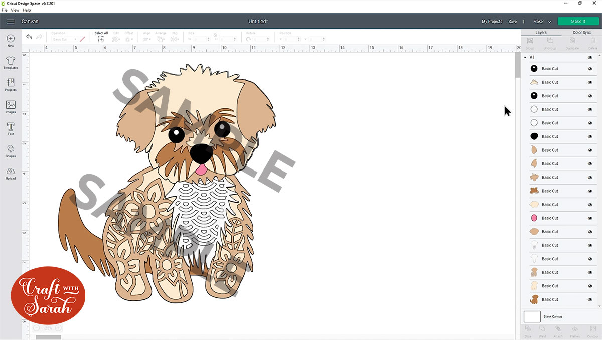 Open the dog SVG in Design Space