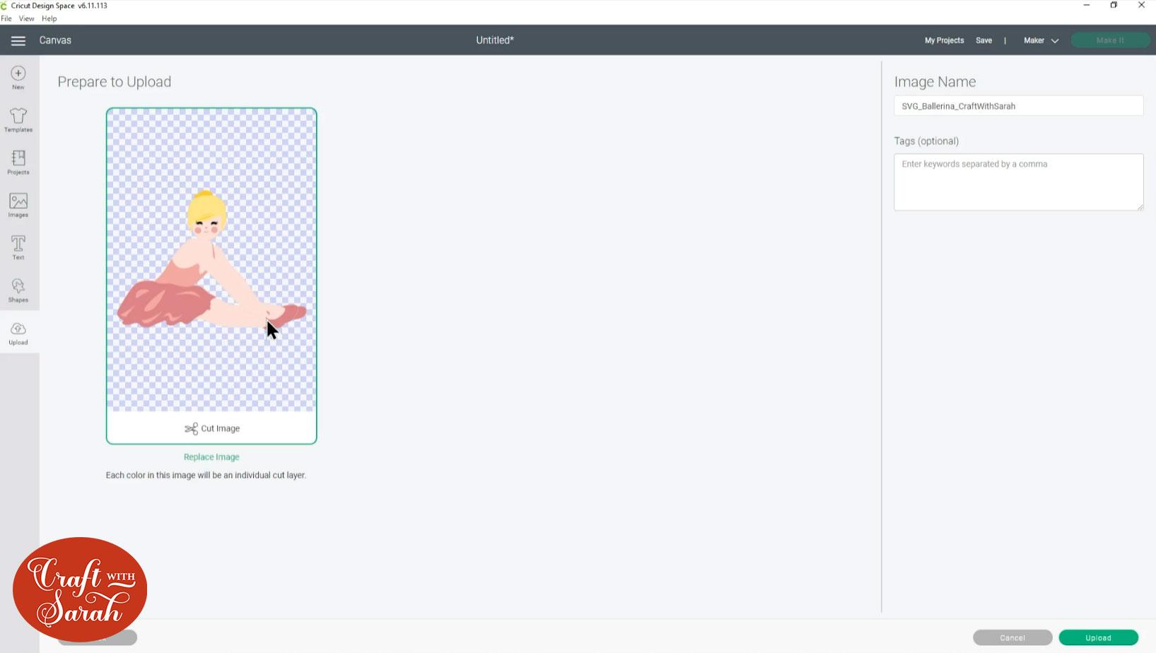 Upload ballerina SVG into Design Space