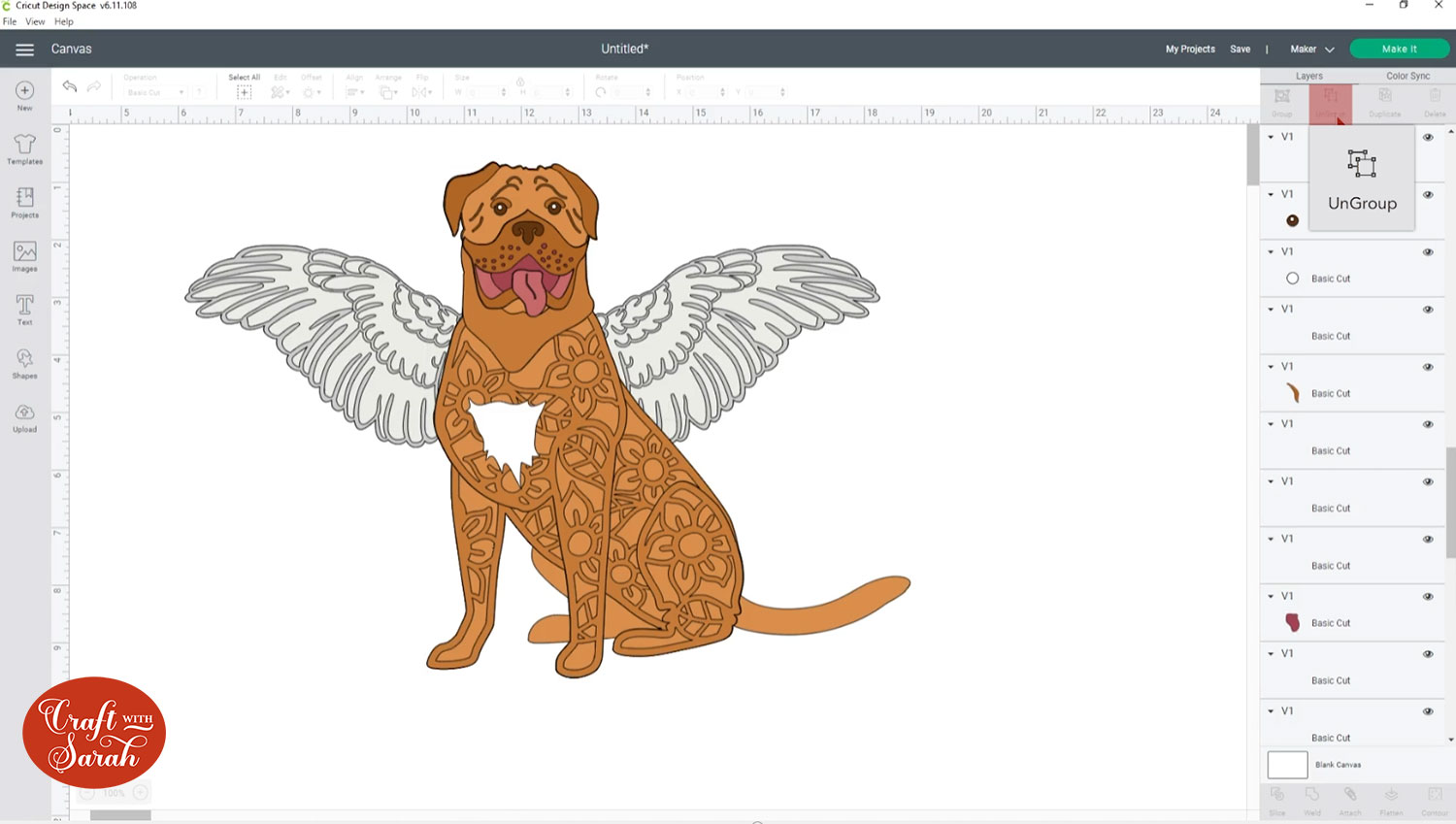 One angel wing on each side of the dog
