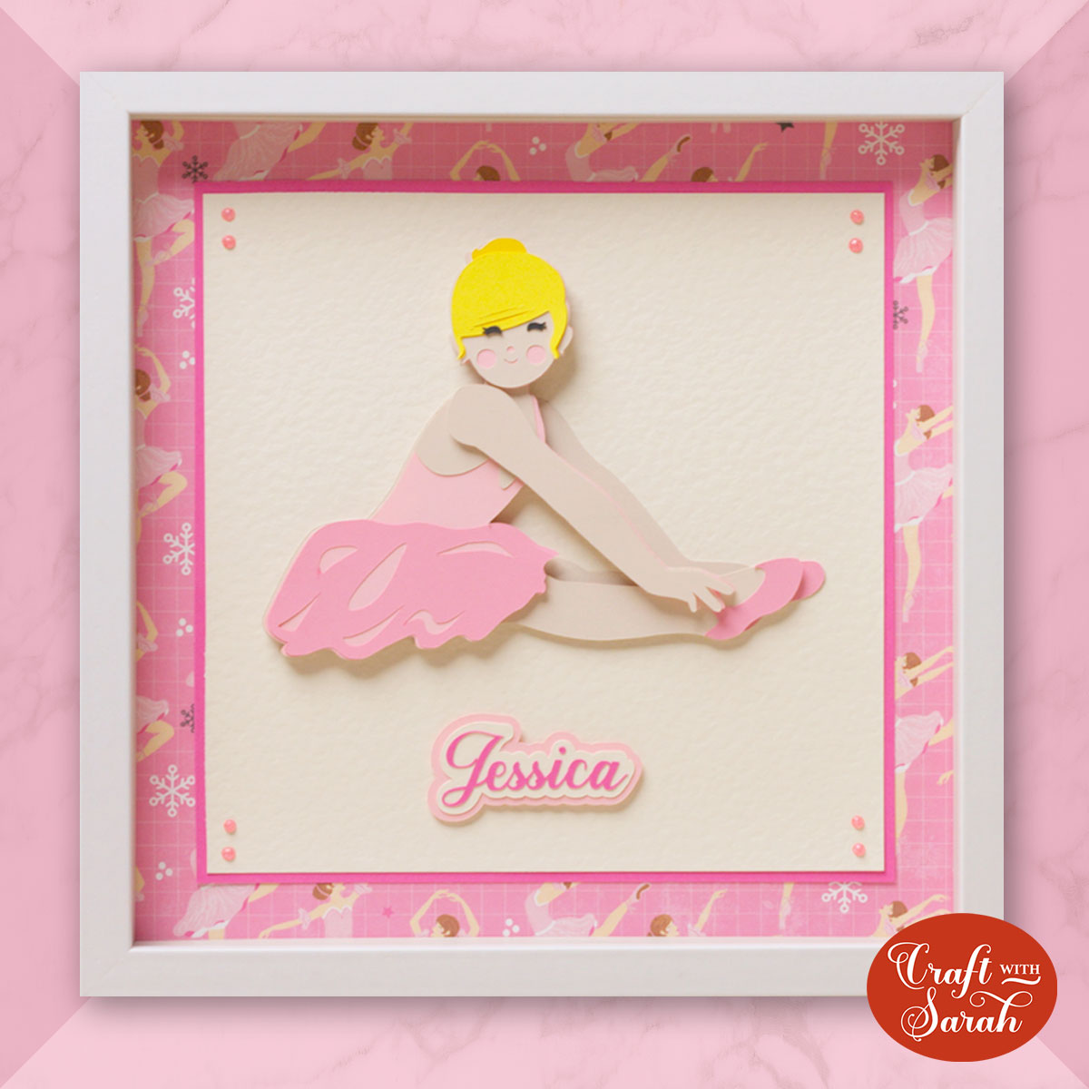 Layered ballerina SVG in shadow box frame