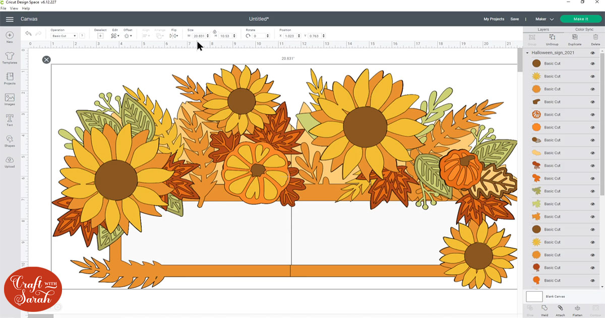 Giant fall sign in Cricut Design Space