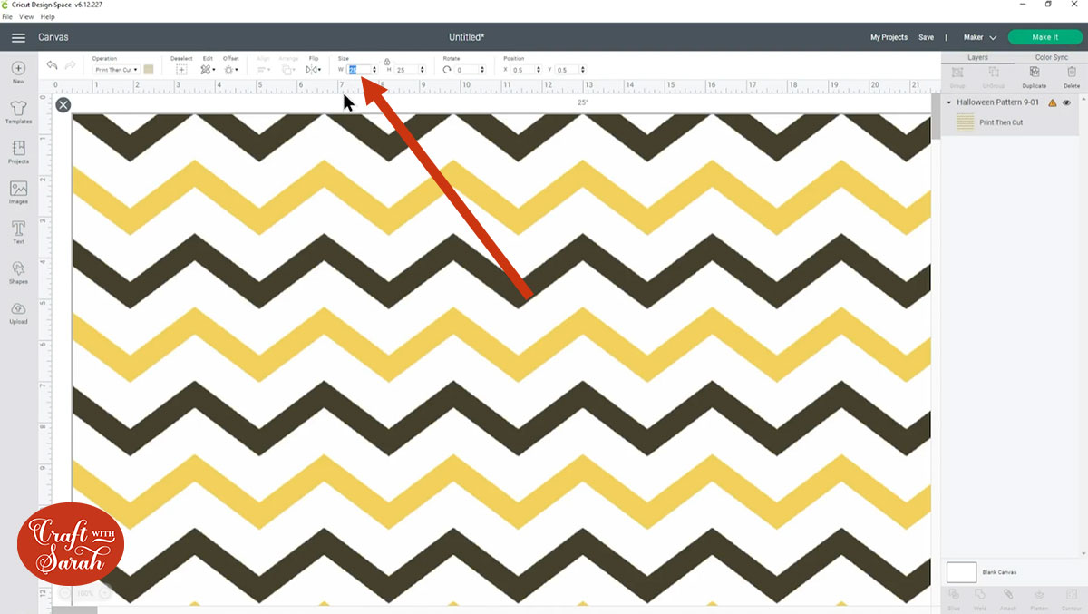 Resize the pattern in Design Space