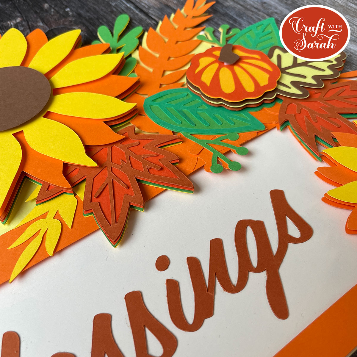 Close up of giant fall sign