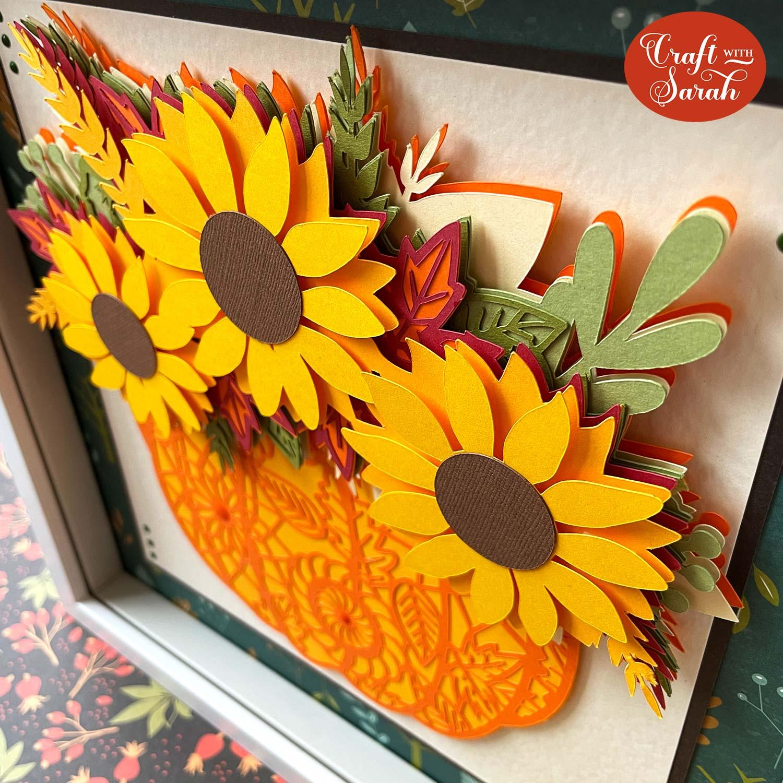 Layered sunflower pumpkin side view