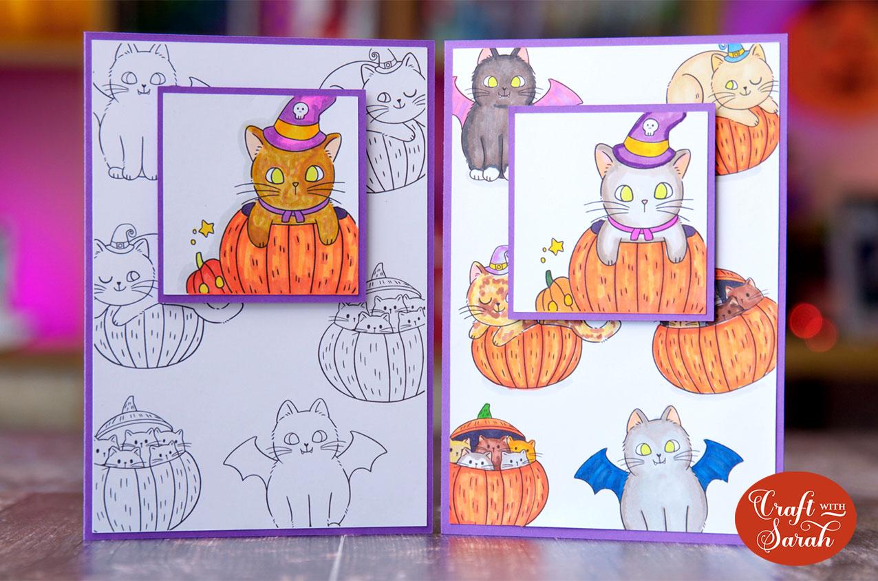 Pumpkin cat cards