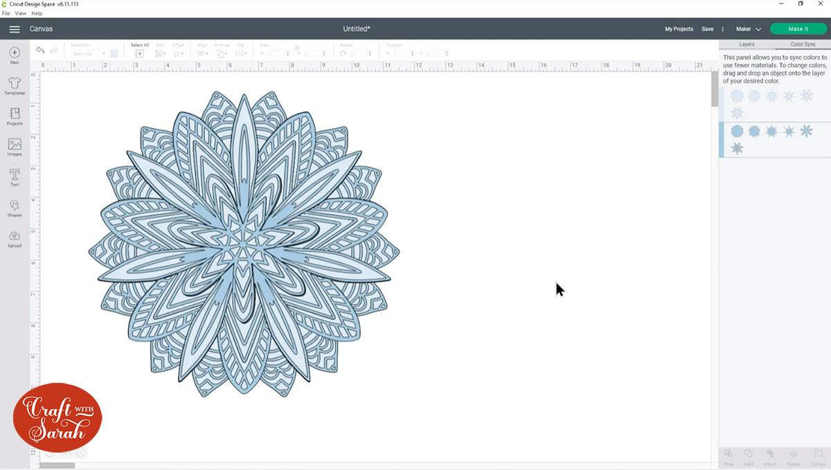 Two colour snowflake mandala
