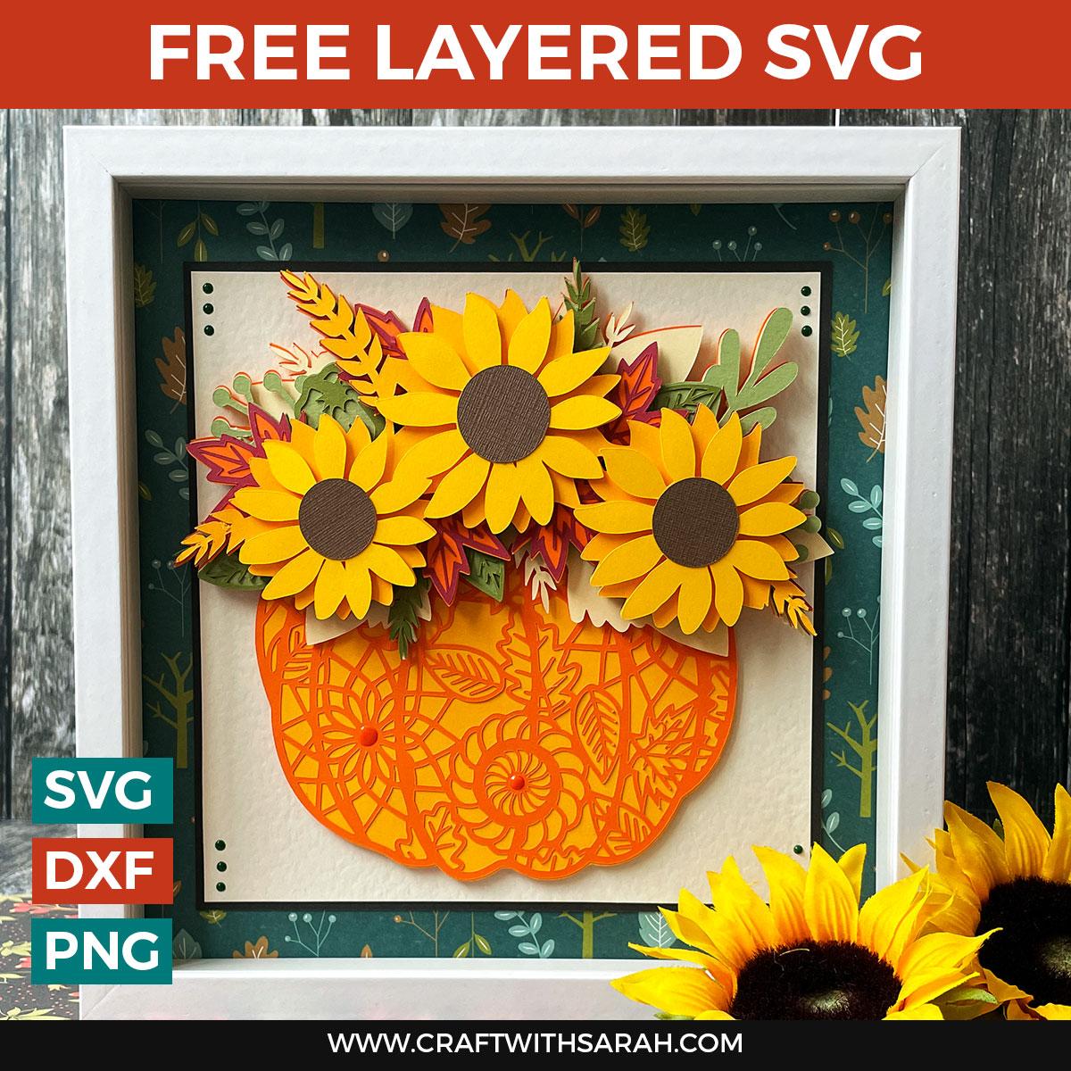 Free Pumpkin & Sunflowers Layered SVG [HCC Day 1]