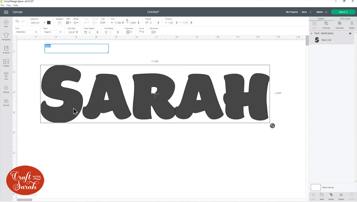 Type your name in Design Space