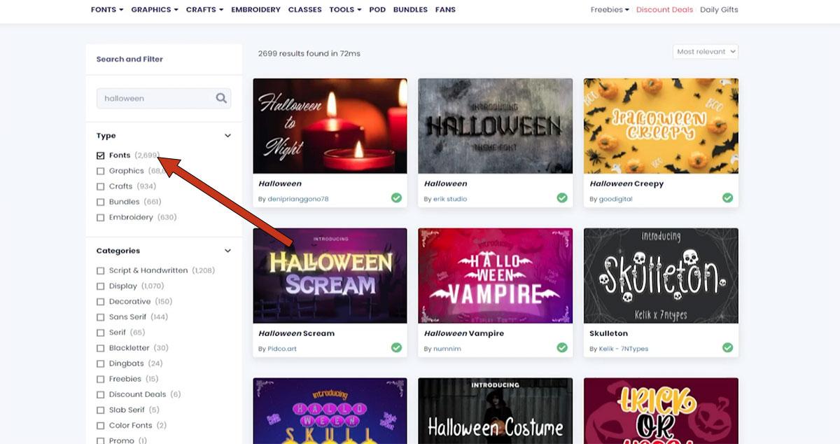 Creative Fabrica font search