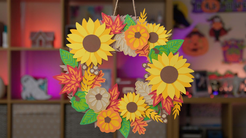 Make a Paper Wreath for Fall // DIY Sunflower Wreath