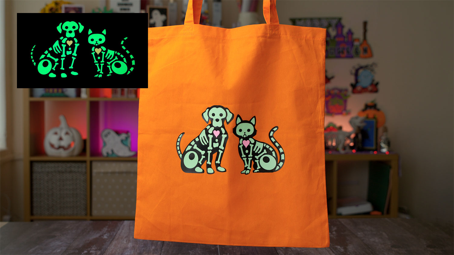 Halloween Skeleton Tote Bags with Glow in the Dark HTV