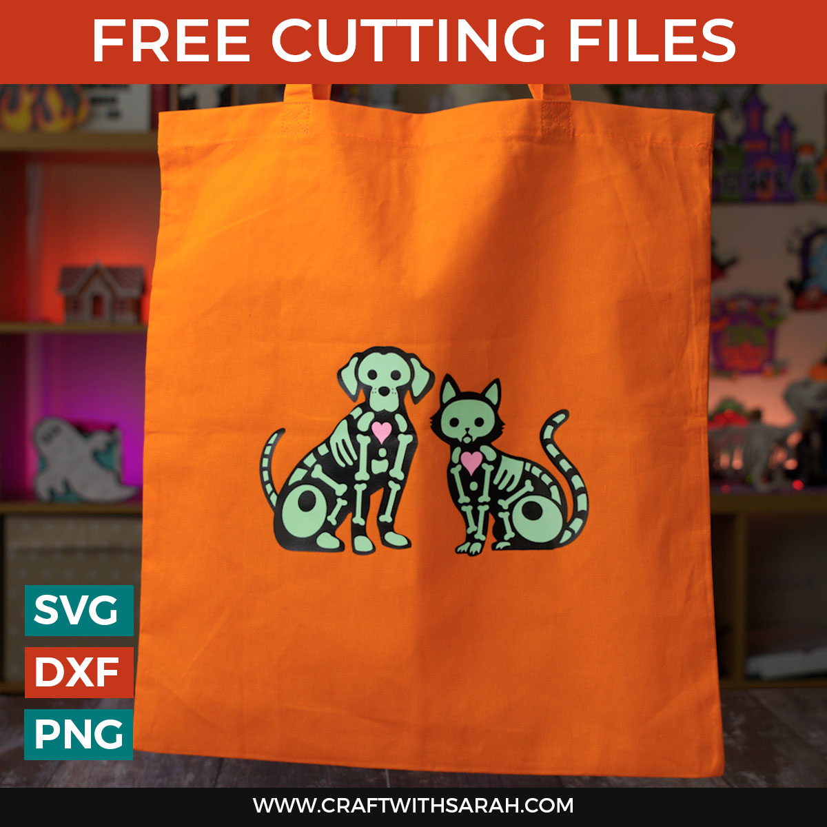 Halloween Skeleton Tote Bags with Glow in the Dark HTV [HCC Day 17]