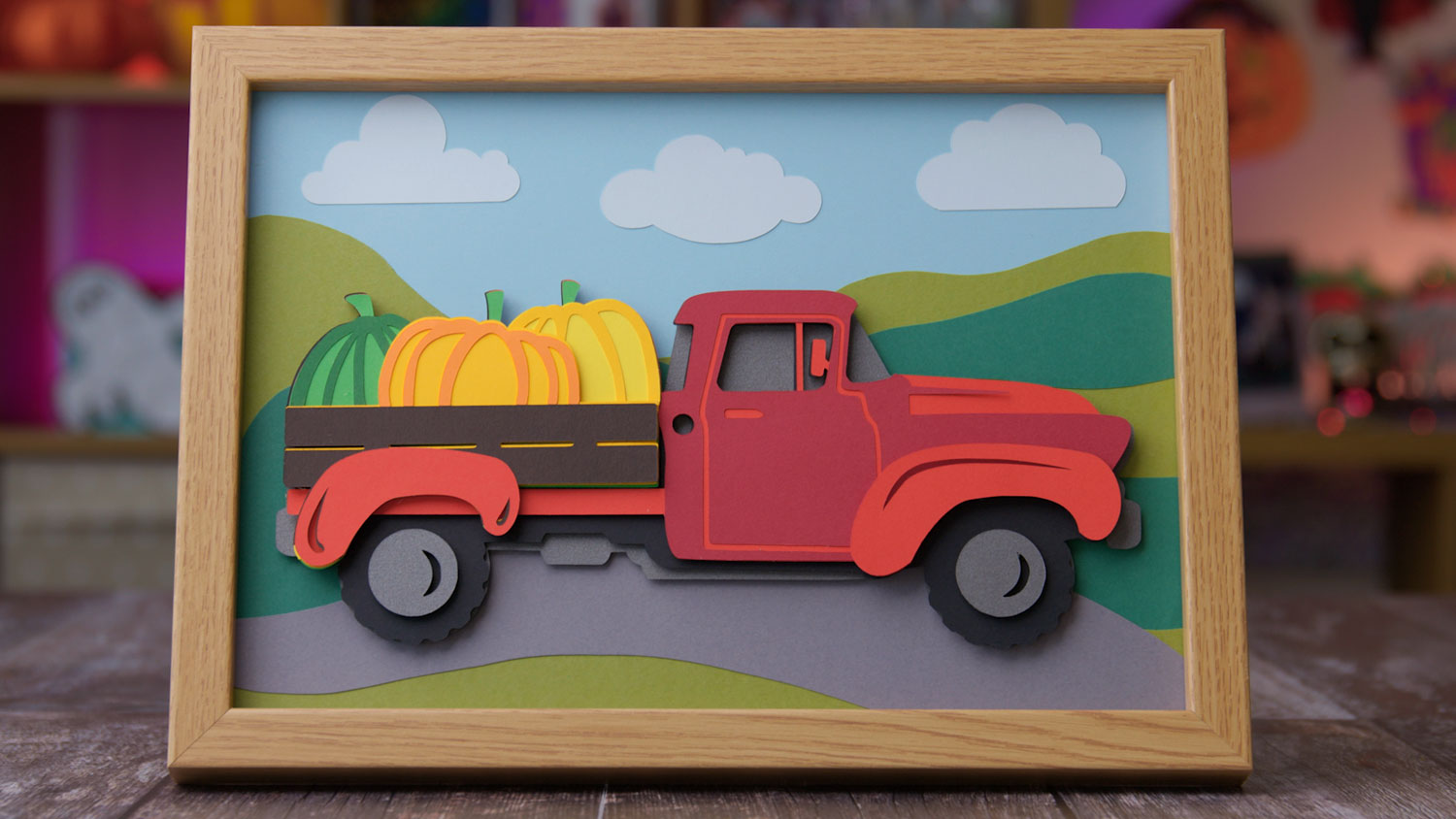 Free Layered Red Truck SVG with Pumpkins