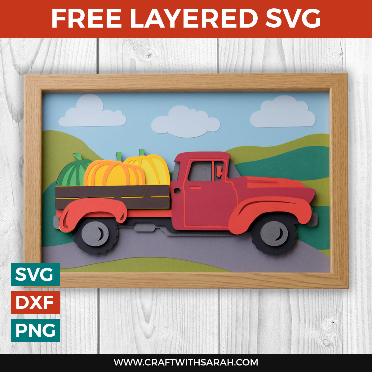 Free Layered Red Truck SVG with Pumpkins [HCC Day 15]